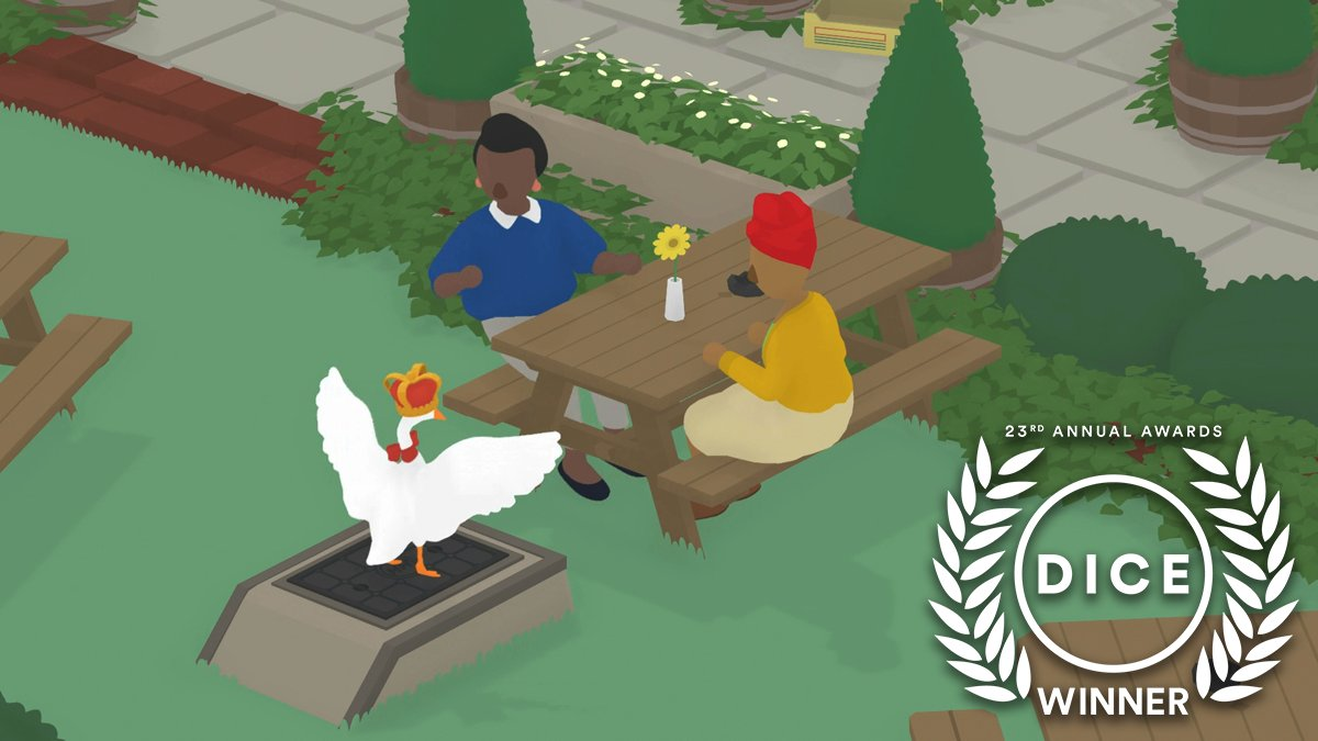 Congratulations to @house_house_ and #UntitledGooseGame for winning the #DICEAward for Outstanding Achievement in Character!