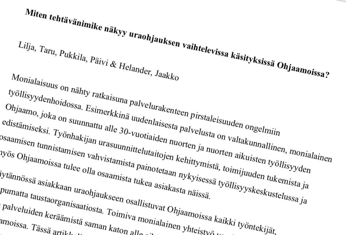 Tänään aikuiskasvatuksen tutkimuspäivillä esittelemme uusimpia tuloksiamme @pukkilapaivi @jaakkohelander @ProjektiUraa #AITU2020 https://t.co/aFZpmxKeLW
