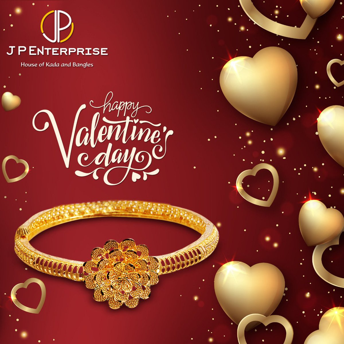 Celebrate this #ValentinesDay2020 with us. Gift your loved one these​ stylish #florabracelet & make her feel Special. #love #fancybangles #goldbangles#classicjewellery #modernjewelry #gold #goldjewellery #indianjewellery #jewelry