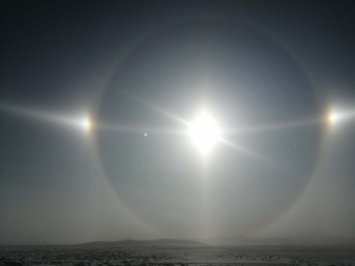 An illusion of three suns: An anthelion, a rare natural phenomenon, is seen in Inner Mongolia, north China