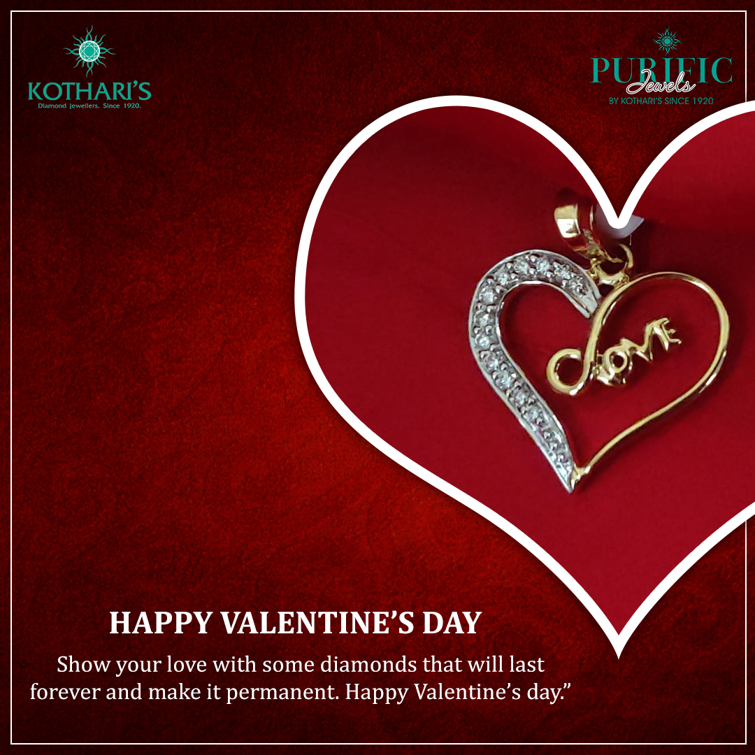 Show your love with some diamonds that will last forever and make it permanent. Happy Valentine's day.  #ValentinesDay #KotharisJewellery #PurificJewels #DiamondJewellery #Jewellery #JadauJewellery pic.twitter.com/XfSZPWIBOF