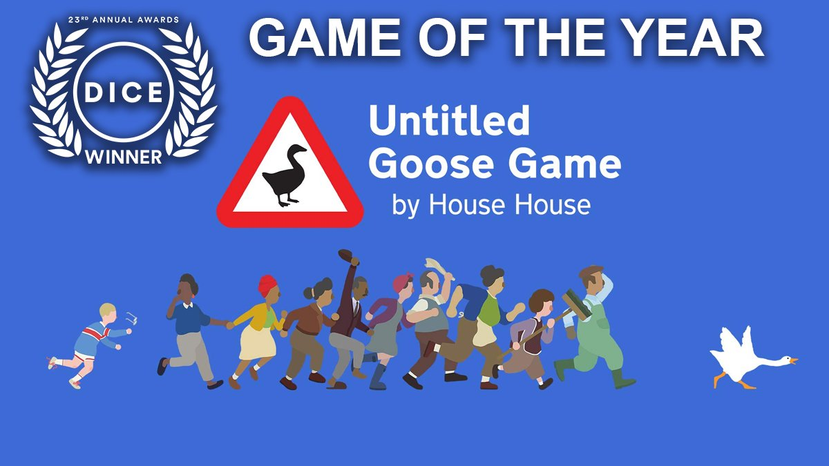 And the #DICEAwards Game of the Year goes to #UntitledGooseGame! HONK