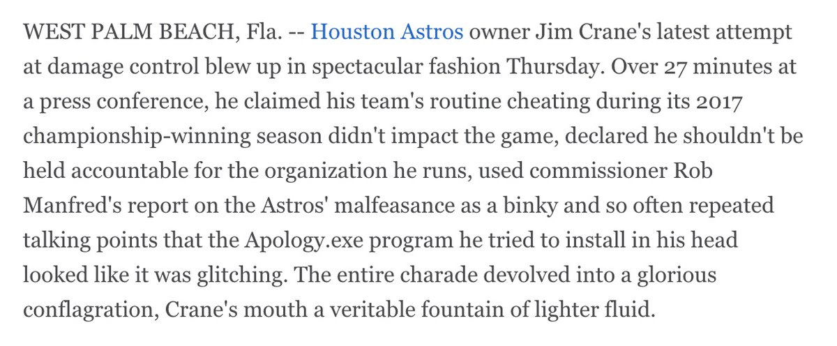 The farce of Jim Crane and the mess that is the Houston Astros. Column: es.pn/39BYfRZ