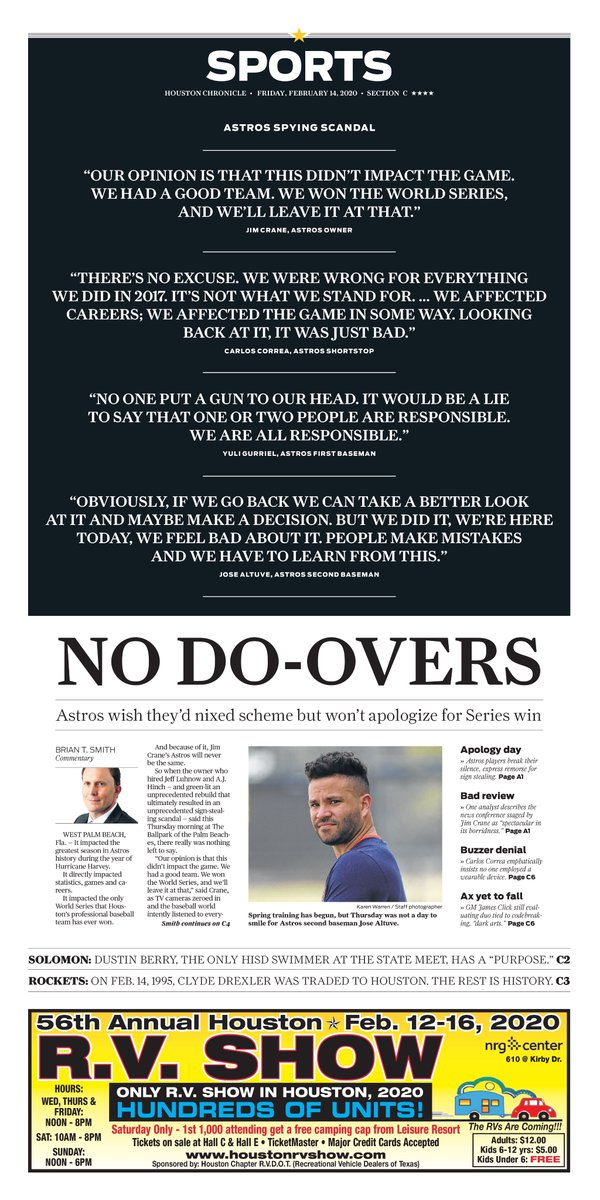 Friday's @HoustonChron Sports cover: No Do-overs. #Astros wish they'd nixed scheme but won't apologize for Series win https://t.co/vycUkWHIak