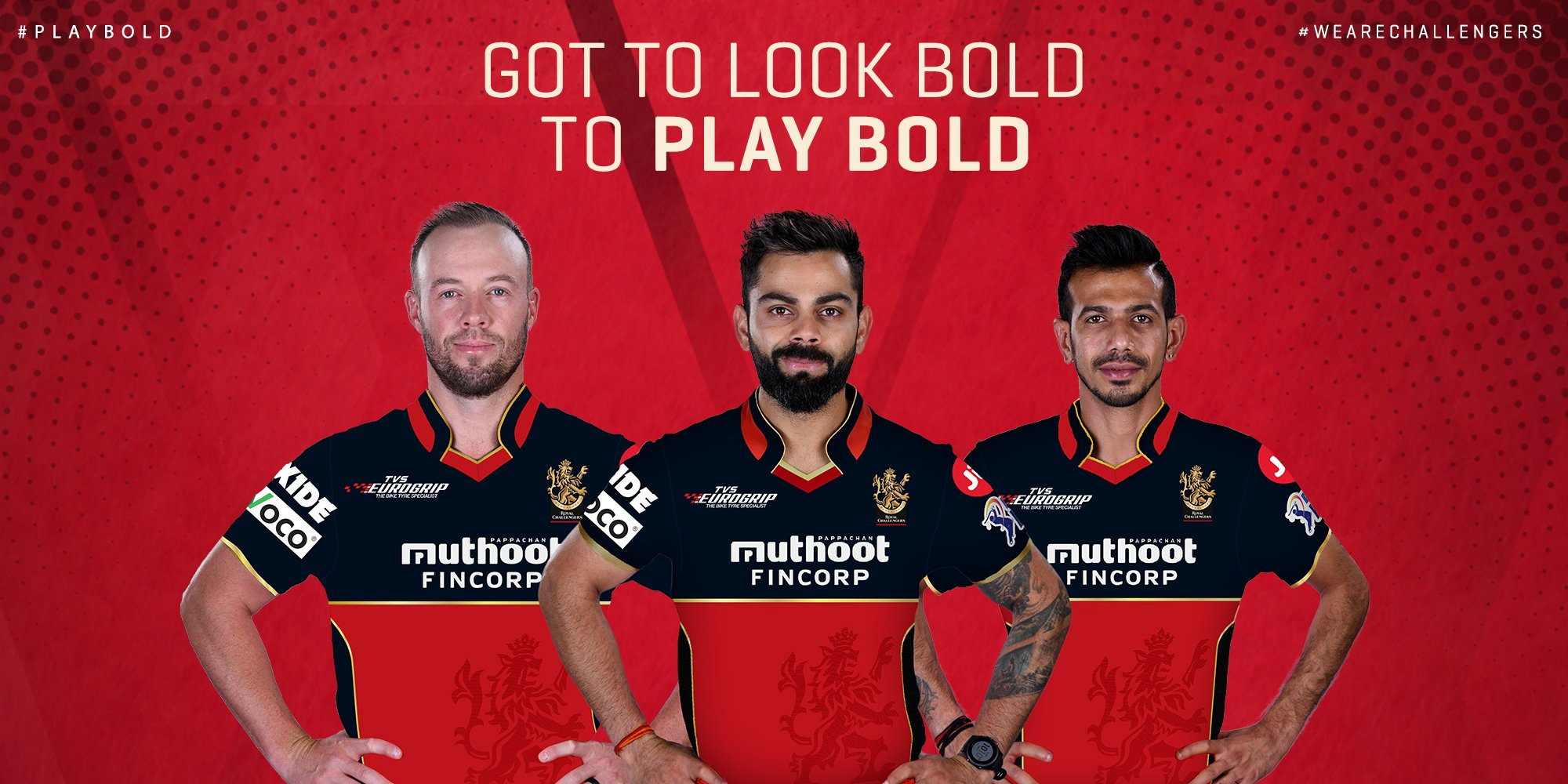 "Royal Challengers Bangalore on Twitter: ""Presenting to you, the RCB Jersey  design for Vivo IPL 2020. We are excited to welcome @MuthootIndia as our  title sponsor. #PlayBold #NewDecadeNewRCB… https://t.co/0nMhwZh66X"""