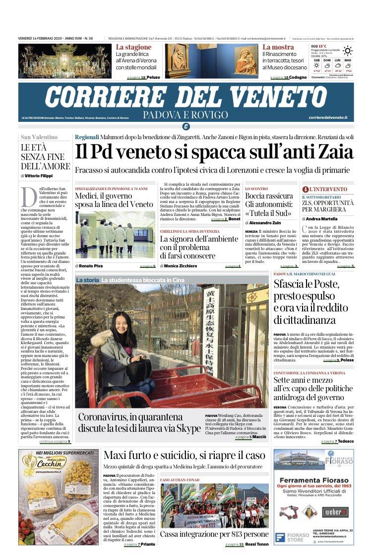Buongiorno con la prima pagina del @corriereven...