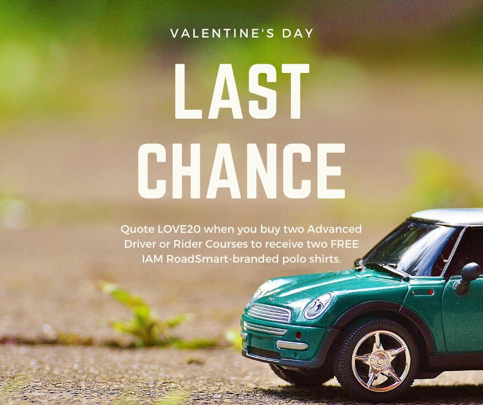 It's your last day to take advantage of our limited Valentine's offer! Call us on 0300 303 1134 and quote LOVE20 to receive two free IAM RoadSmart-branded polo shirts.   #ShareTheLove #LoveYourJourney #BetterTogether  https://www.iamroadsmart.com/media-and-policy/newsroom/news-details/2020/02/07/things-are-better-when-done-together-start-your-iam-roadsmart-journey-this-valentine-s-day …pic.twitter.com/do7WKuG6tv