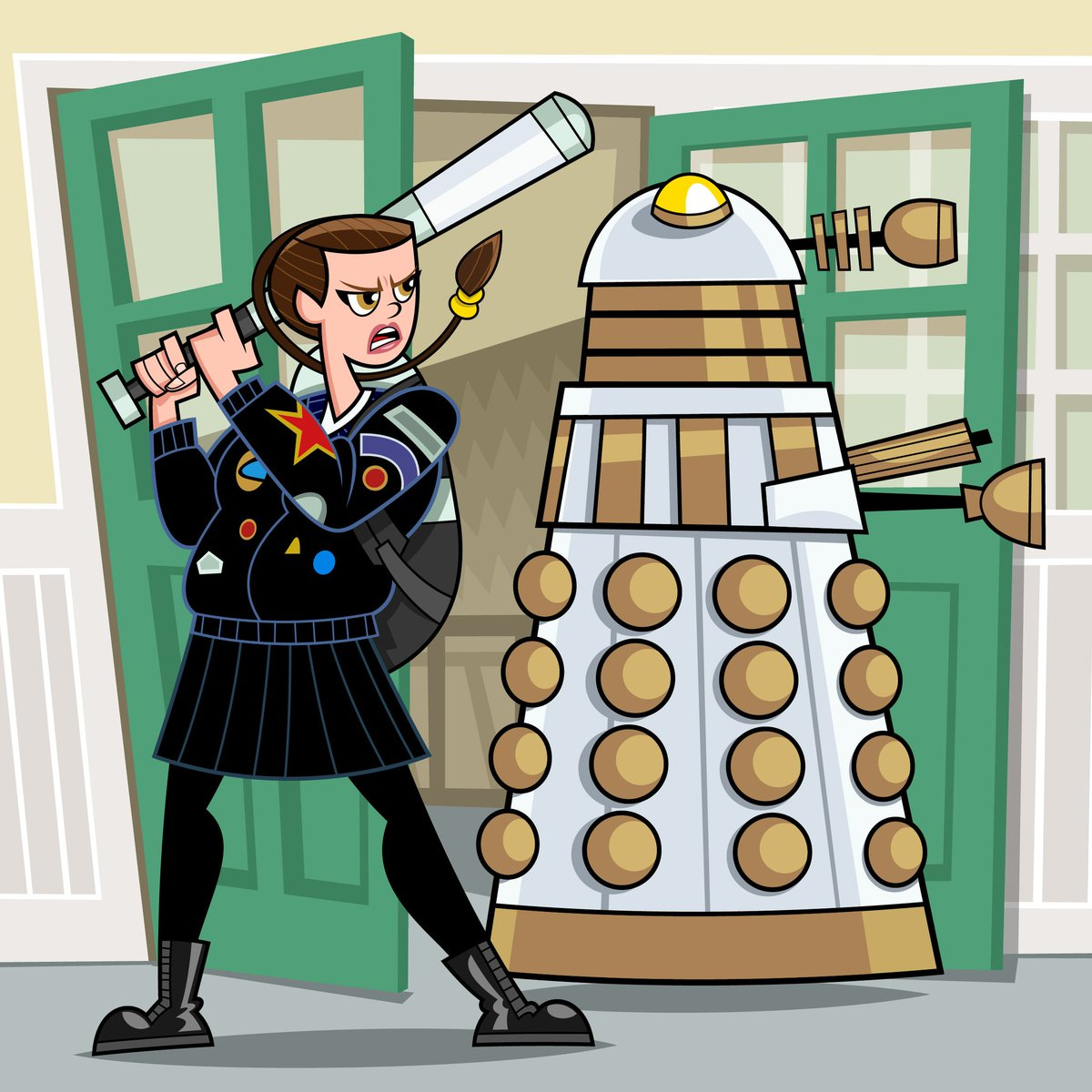 """""""Who are you calling small?!""""   Some #Friday #fanart based on a piece I did for #Inktober2019 – @sophie_aldred's Ace from #DoctorWho taking a swing at an unsuspecting Dalek!  @DWMtweets @BBCDoctorWho #illustrator #FanArtFriday #twitterart #EXTERMINATE #Daleks #classicTV #SciFipic.twitter.com/jJc094VhzY"""