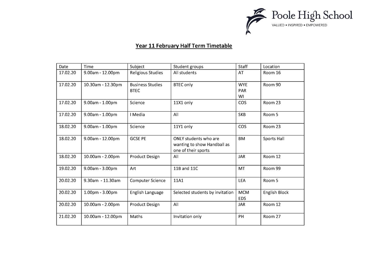 Year 11 February Half Term revision timetable. #phspassion #revision #GCSE