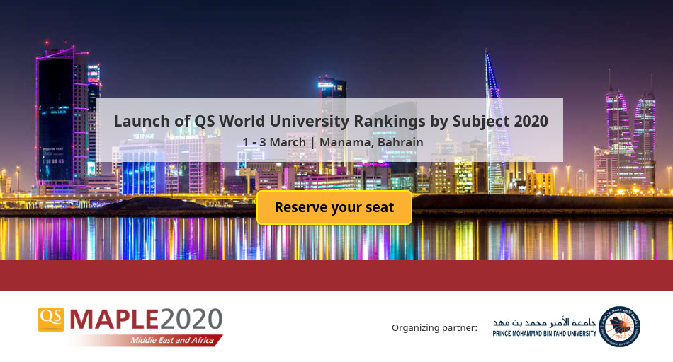 We are excited to announce that the QS World University Rankings by Subject 2020 will be launched at #QSMaple2020.   Join us to find get intriguing insights into performance of Universities from MiddleEast in this year's subject #rankings. Register: http://bit.ly/qsmaple2020  #QSWURpic.twitter.com/zrD8vEgUg9