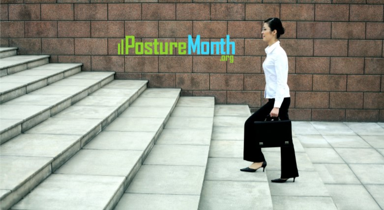 Tip 6 Climbing Stairs - Don't lean forward. |  http://PostureMonth.org    http://PostureMonth.org   #walking  #healthylifestyle