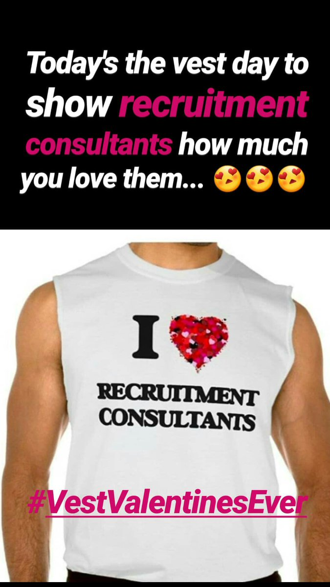 Oh, and don't forget... today's the vest day to show recruitment consultants how much you love them... #VestValentinesEver #Recruiting #FirstLove #Staffing #RecruitmentConsultants #Recruiters #Career #LoveMyJob #FridayFeeling #FridayMotivation #ValentinesDay2020pic.twitter.com/J4jGGerZjA