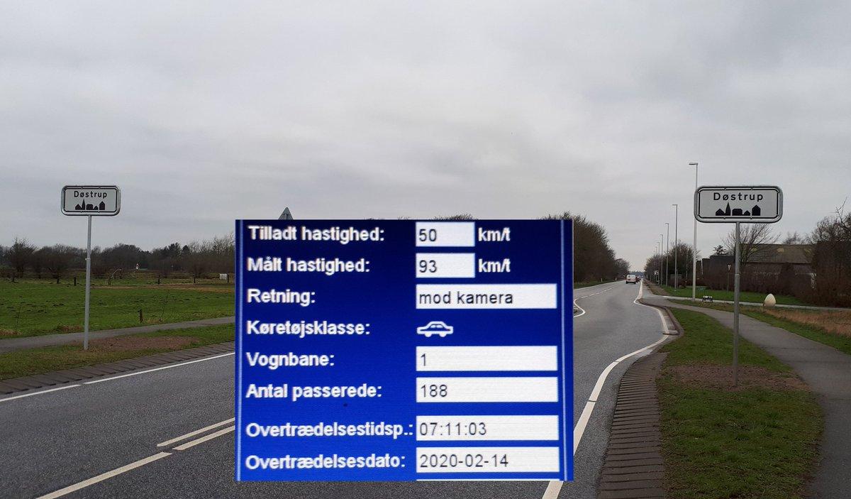Fotovognen har været i Døstrup ved Tønder, ønsket af utrygge borgere. 14 blev blitzet deraf 3 klip og 1 bet. frak. af kørekortet med 93 km/t. Når bilister bliver blitzet, men vender om fordi de tror man må køre 60 km/t, så undre vi os og forklarede 50 km/t i byen #atkdk #politidk https://t.co/bgdrZY7LPA