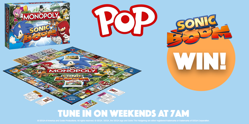 RT and follow to #WIN a Sonic Boom Monopoly game! 🔥  There are 4 prizes up for grabs - enter now!   Watch on POP, weekdays at 7am, Freeview 206, Sky 616, Virgin 736, Freesat 603.   #Competition #Sonic #SonictheHedgehog