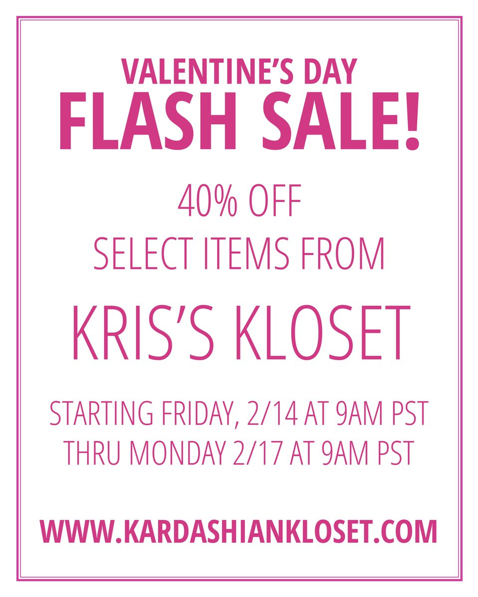 To celebrate #ValentinesDay we are doing 40% off select items from my closet!! Starting 9am pst today at KardashianKloset.com