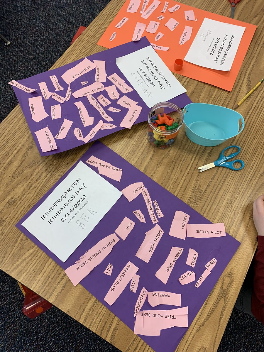 Happy kindergarten kindness day!! Students put compliments and kind words on each other's papers. All the kind words make our ❤️s happy! <a target='_blank' href='http://twitter.com/CampbellAPS'>@CampbellAPS</a> <a target='_blank' href='https://t.co/XtXd0nhszq'>https://t.co/XtXd0nhszq</a>