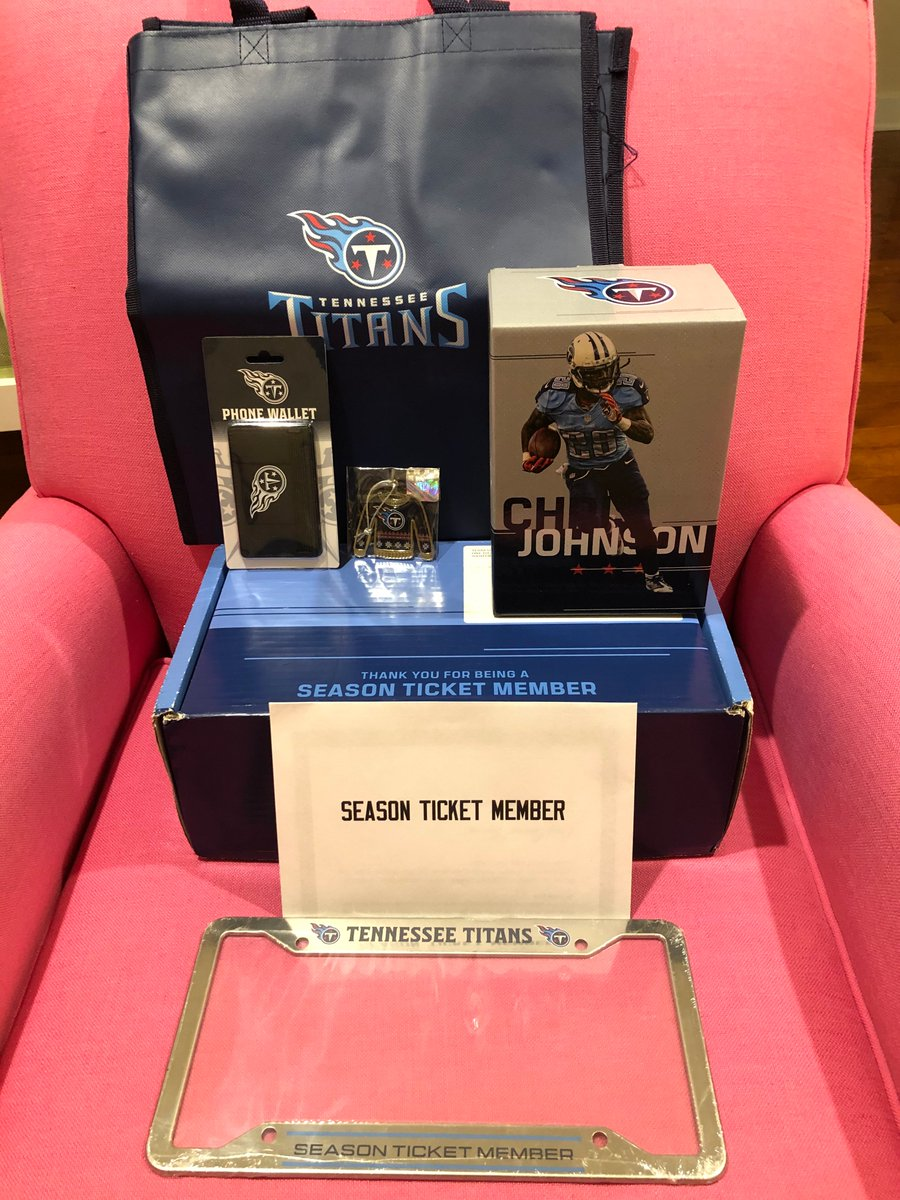 Check out this @Titans swag sent to season ticket members (even me in NY)! The highlight is the @ChrisJohnson28 bobble head! Thank you Amy Adams Strunk! Can't wait for next season! #TitanUp ⚔️💙⚔️ P.S. please re-sign @KingHenry_2 @ryantannehill1 @RealLoganRyan @Jack_Conklin78! 😉