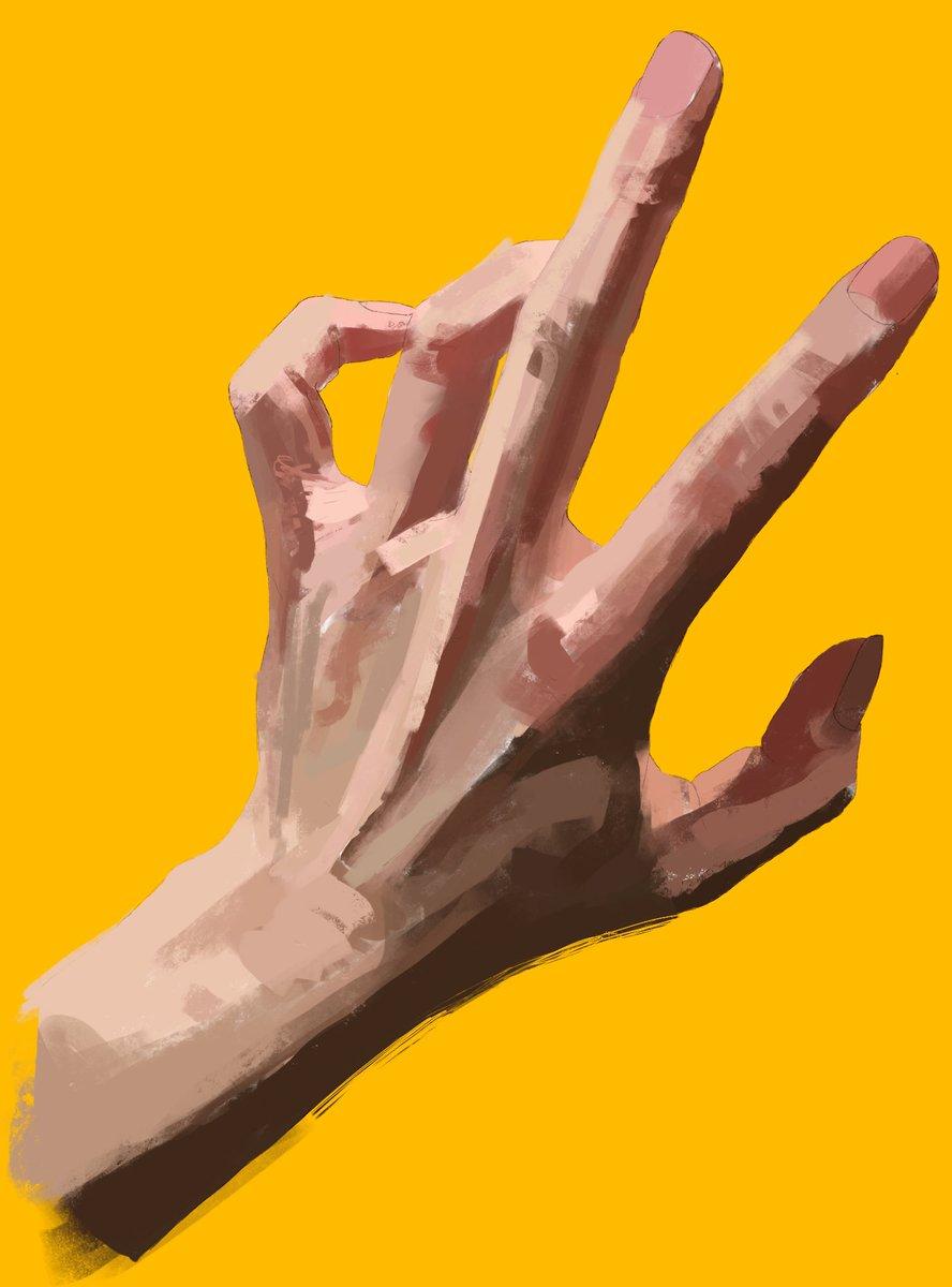 ①全体に統一感が出る様に色数を限定して大きなタッチで光が一番強く当たっている部分と最も暗い影色の設定をする②ぼかし機能を使い全体を馴染ませた後に色味を増やしていく③骨格や指の関節等の関係性を意識しながら描き進める。④筆を使い分けて肌の細かいしわや爪の質感などの描きわけて完成