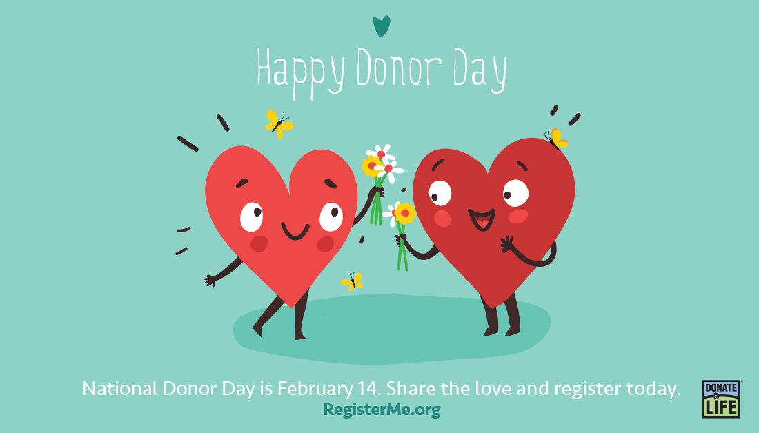 Happy #NationalDonorDay! Share the love & register your decision to be an organ, eye and tissue donor at  or in your #iPhone Health App. Thank you to all donors, registered donors, donor families, and living donors for your generosity. 💙💚❤️ #DonateLife