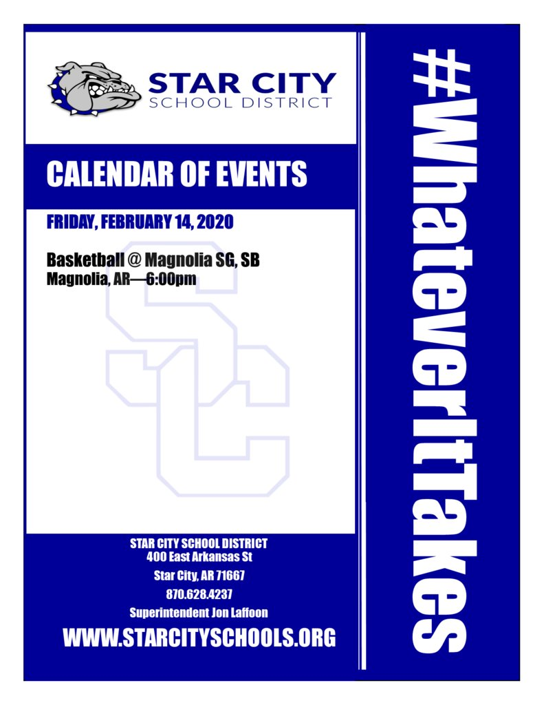 Star City School District Events for Friday, February 14, 2020. #WhateverItTakes