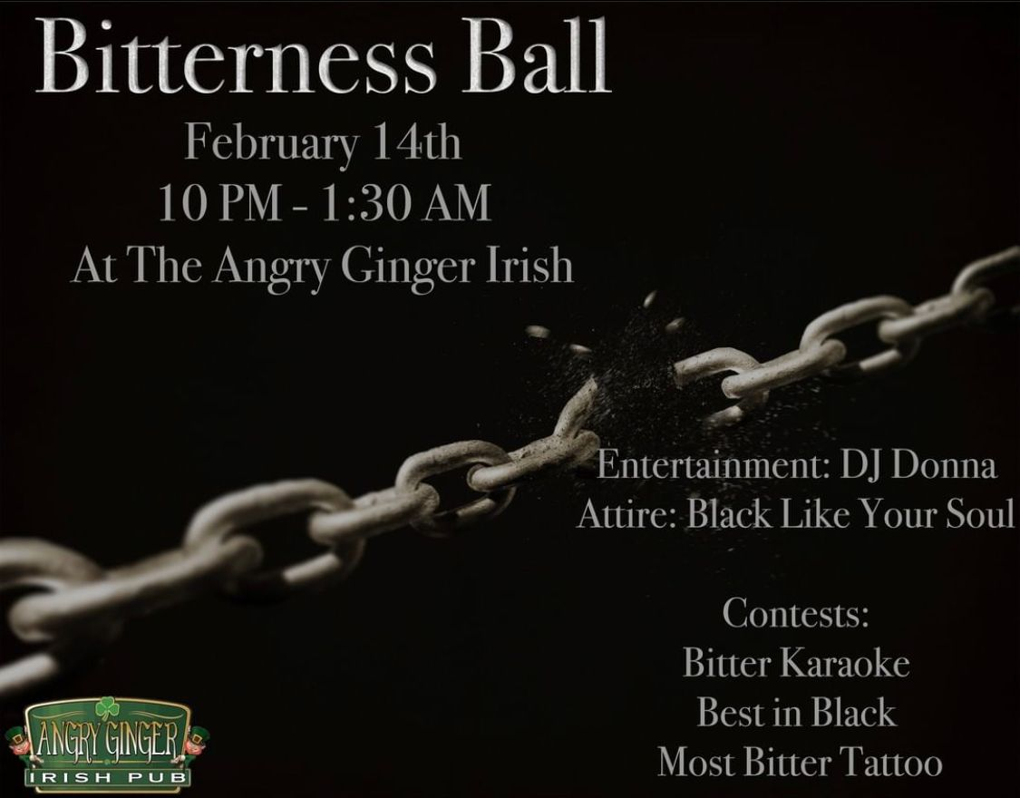 Happy Valentine's Day!  We'll see you tonight for the Bitterness Ball inside the pub! Don't forget to wear all black!  #ValentinesDay #CampLejeune #JacksonvilleNC #OnlyInOnslow #OnslowEvents #AngryGingerpic.twitter.com/PbqJe3OxrB