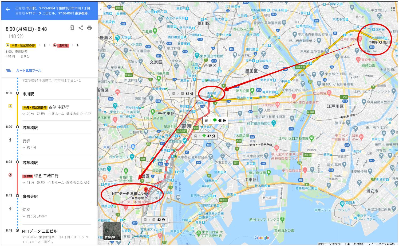 新型コロナウイルスの感染が確認されたNTTデータ協力会社の千葉県民男性の通勤ルート、報道や5chの情報をつなぎ合わせるとこういう感じかな。