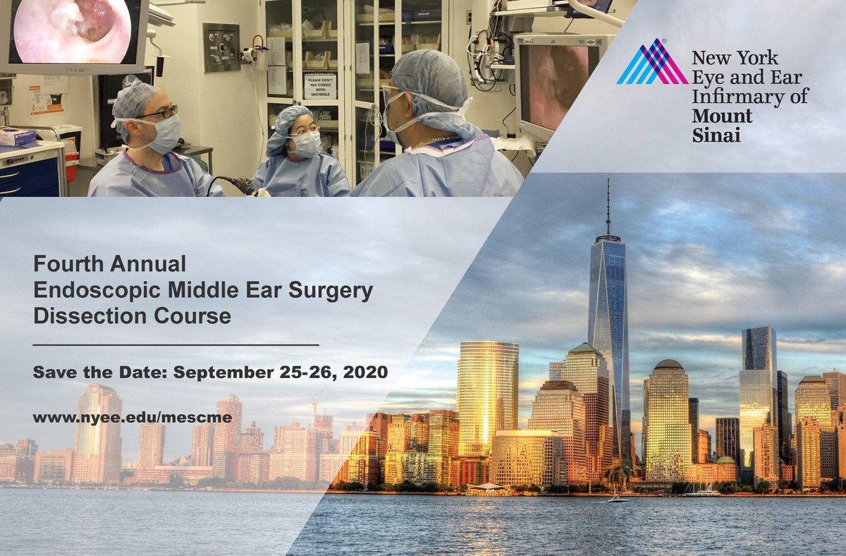 Register today for an outstanding hands on Endoscopic Ear Course at NYEE. Great International and National Faculty! @Alejorivasc @haynes_ear @JacobBHunter @alexdsweeney @BP_OConnellMD @Mcrook187 @MatthewLCarlso1 @bijrbd https://t.co/jSPd7omwhg