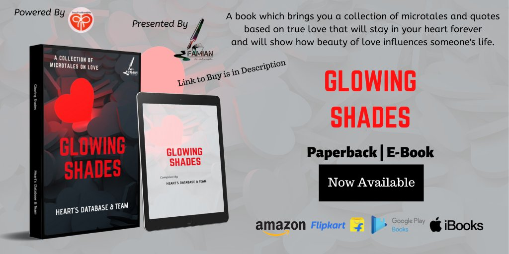 A book of short microtales and quotes based on love.52 Co-Authors are associated with this book.  Links to Buy:  Kindle : http://bit.ly/glowings  Paperback :  http://bit.ly/GS-PAPERBACKpic.twitter.com/7TQZL9hzO2