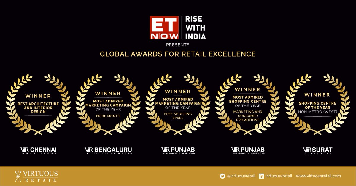 It's was a clean sweep for #VirtuousRetail at the @ETNOWlive  presents #GlobalAwardsForRetailExcellence, with four of our flagship centres winning big.  #ETNow #GlobalAwardsForRetailExcellence #PrideMonth #ConnectingCommunities #IndianRetail #VRAwardWinning #WeAreVirtuousRetail https://t.co/nUoUhlJwQL