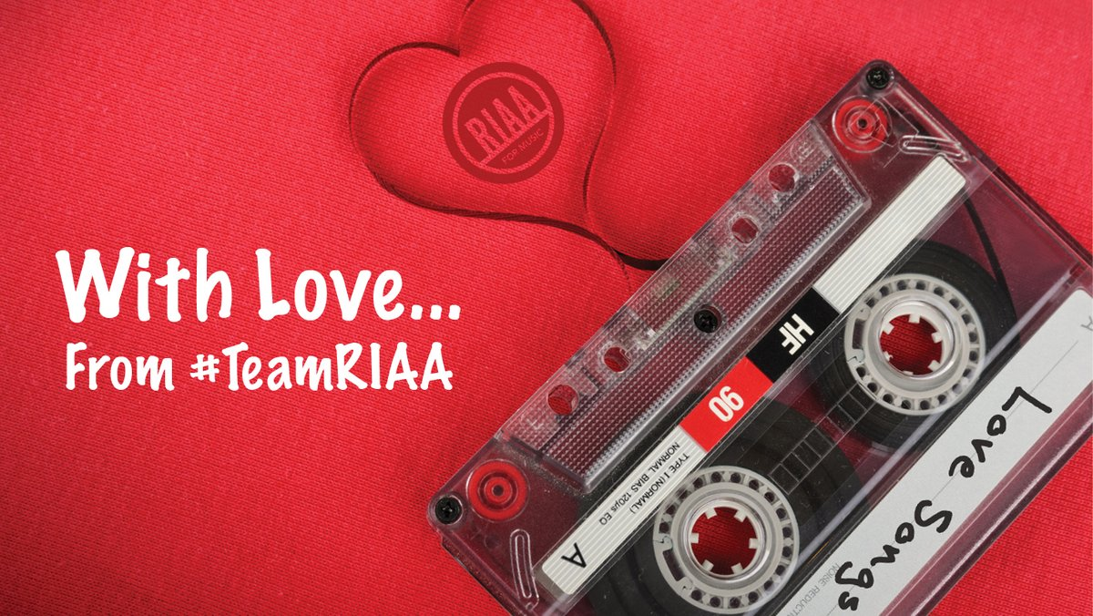 Happy #ValentinesDay from #TeamRIAA! We curated a playlist 🎧 of our favorite ❤️ songs to get you in the mood. Listen to the playlist bit.ly/2vkOrga & tell us your favorite ❤️ song 👇!