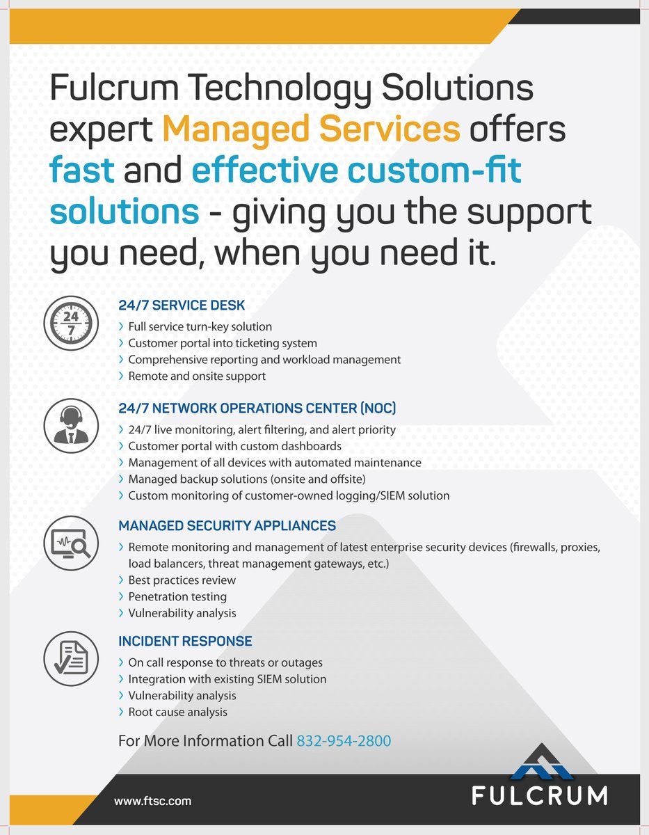 Do you LOVE your Managed Service Provider? It's possible with Fulcrum's MSP/MSSP Team. With our 24/7 Service Desk & NOC, we're ready with 24/7/365 monitoring & alert filtering. Find out how we can deliver solutions, plus peace of mind. https://www.ftsc.com/contact/  #TechSolutions pic.twitter.com/7mY0PiF4TG