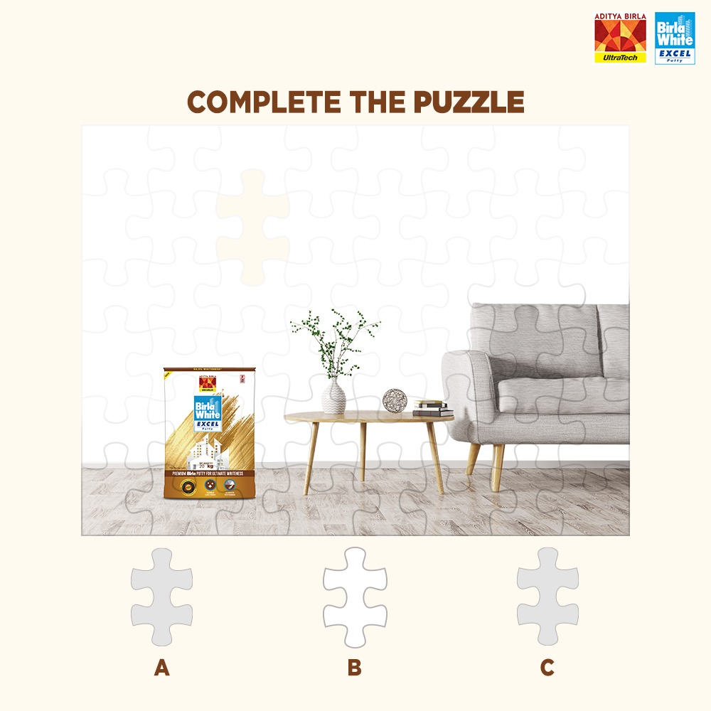 Birla White Excel Putty has brightened up this wall with its marble-like finish. Guess which piece fits perfectly here and complete the jigsaw puzzle to win exciting prizes!  #ContestAlert  #ExcelPutty #Premium #PremiumPutty #PremiumQuality #TrueToneOfColor #UltimateWhiteness