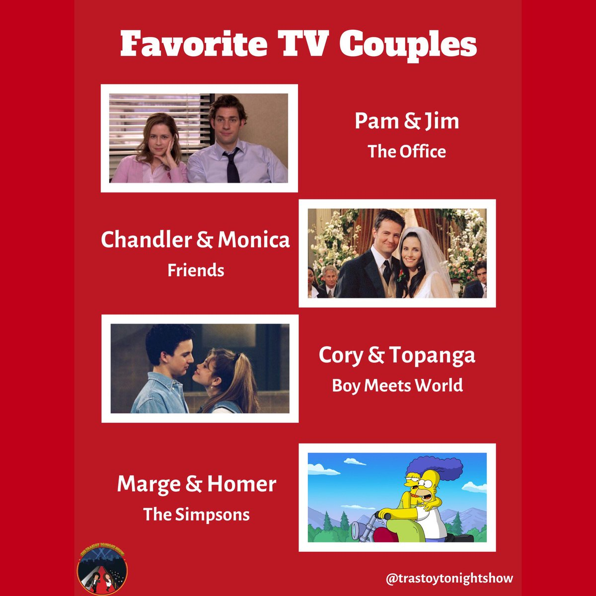 Who are you & your #valentine most like? #PamBeesly #JimHalpert #ChandlerBing #MonicaGeller #CoryMatthews #TopangaLawrence #MargeSimpson #HomerSimpson #TheOffice #Friends #BoyMeetsWorld #TheSimpsons #MichaelScott #ShawnHunter #Phoebe #Ross #MrFeeney #BartSimpson #DwightSchrutepic.twitter.com/m67XkAqaQ9