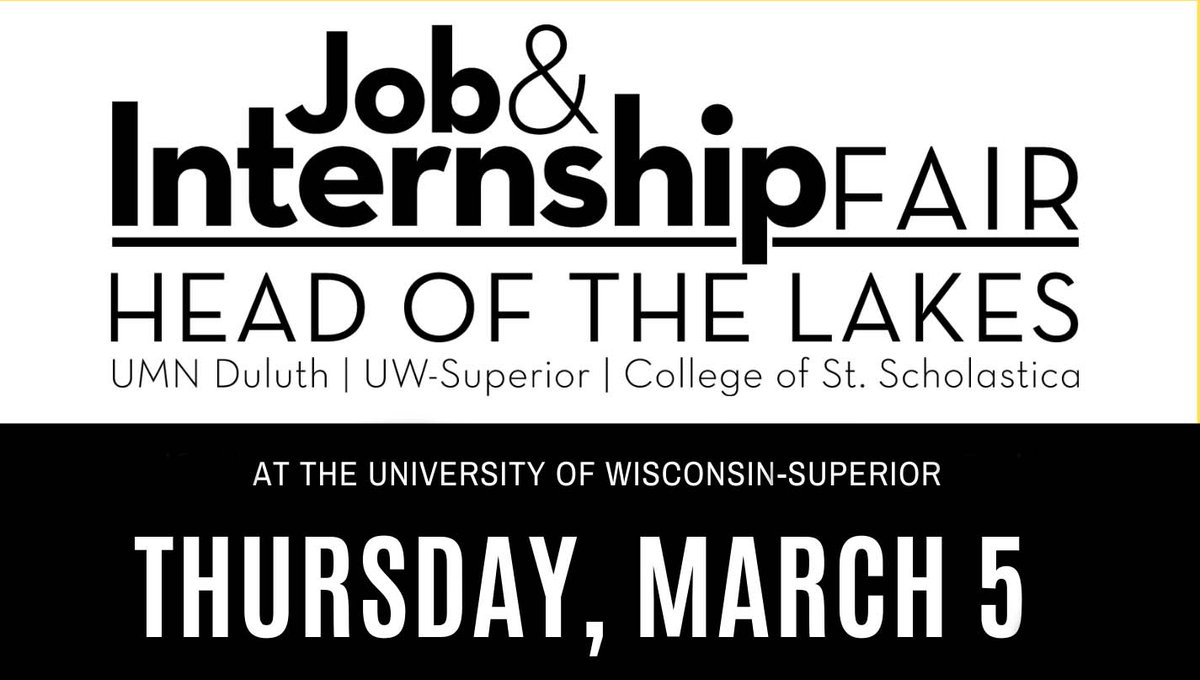 UW-Superior will host nearly 90 employers from the Twin Ports and beyond as part of the free Head of the Lakes Job and Internship Fair.  https://t.co/C1oL9KOc7F https://t.co/rnNj5W84Os