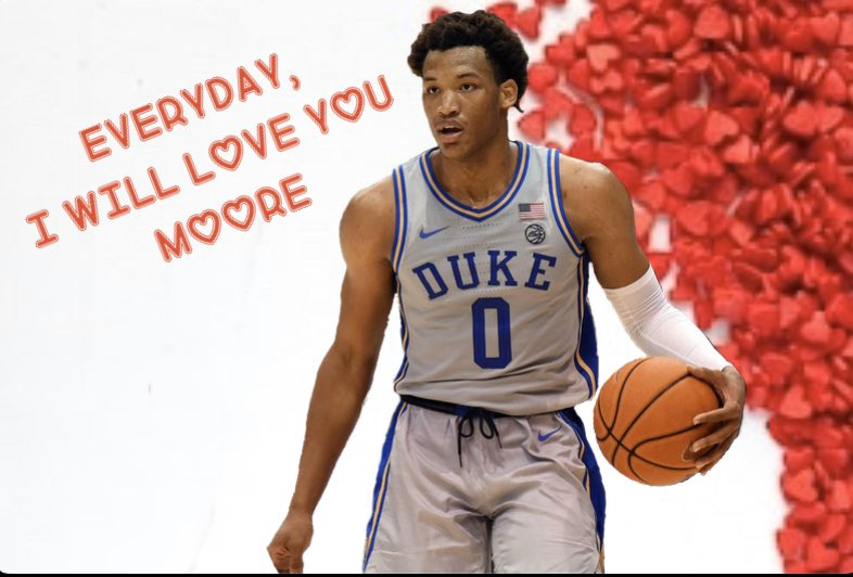 Happy Valentines Day from your favorite Blue Devils 😈❤️🤟🏻 @thewendellmoore @vernoncarey22 @Tre3Jones #HappyValentinesDay #DukeBasketball