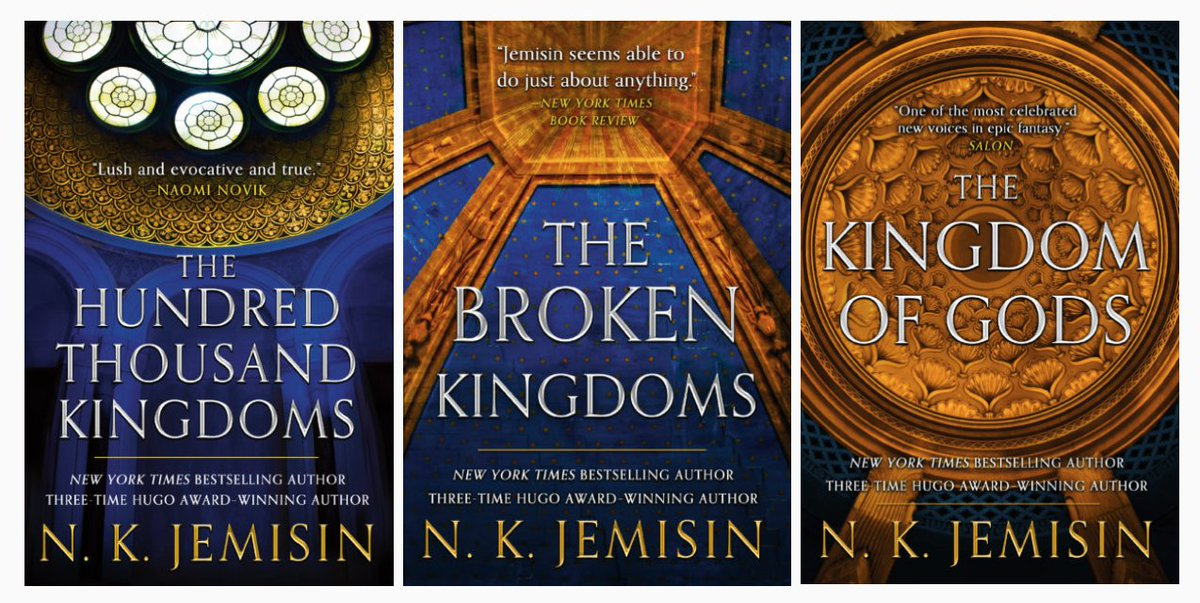 """Orbit Books on Twitter: """".@nkjemisin's Inheritance Trilogy books are  getting a beautiful new repackage! Orbit is very pleased to present these  updated covers inspired by the regal architecture of the city of"""