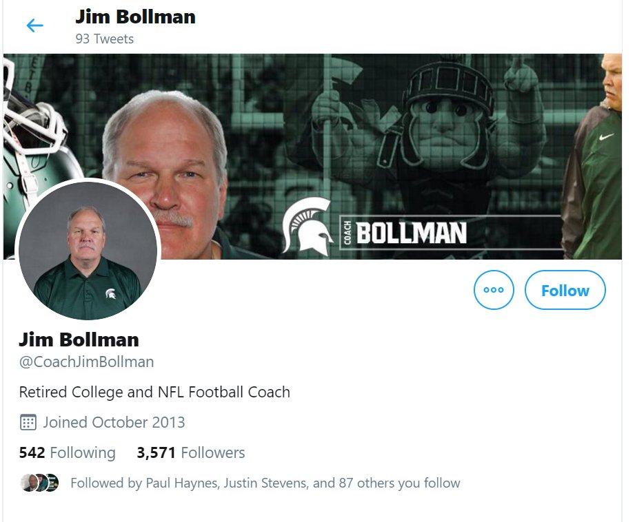MSU assistant Jim Bollman's Twitter bio says he's retired