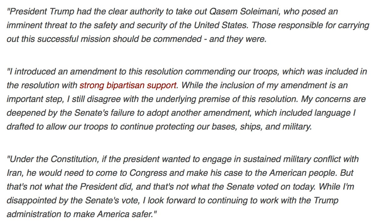 POTUS had the clear authority to take out #Soleimani. That's why I voted against the War Powers Resolution. While I'm disappointed by the Senate's vote, I will continue to work with the Trump admin to make America safer. Read my statement here--> bit.ly/37y6EVa