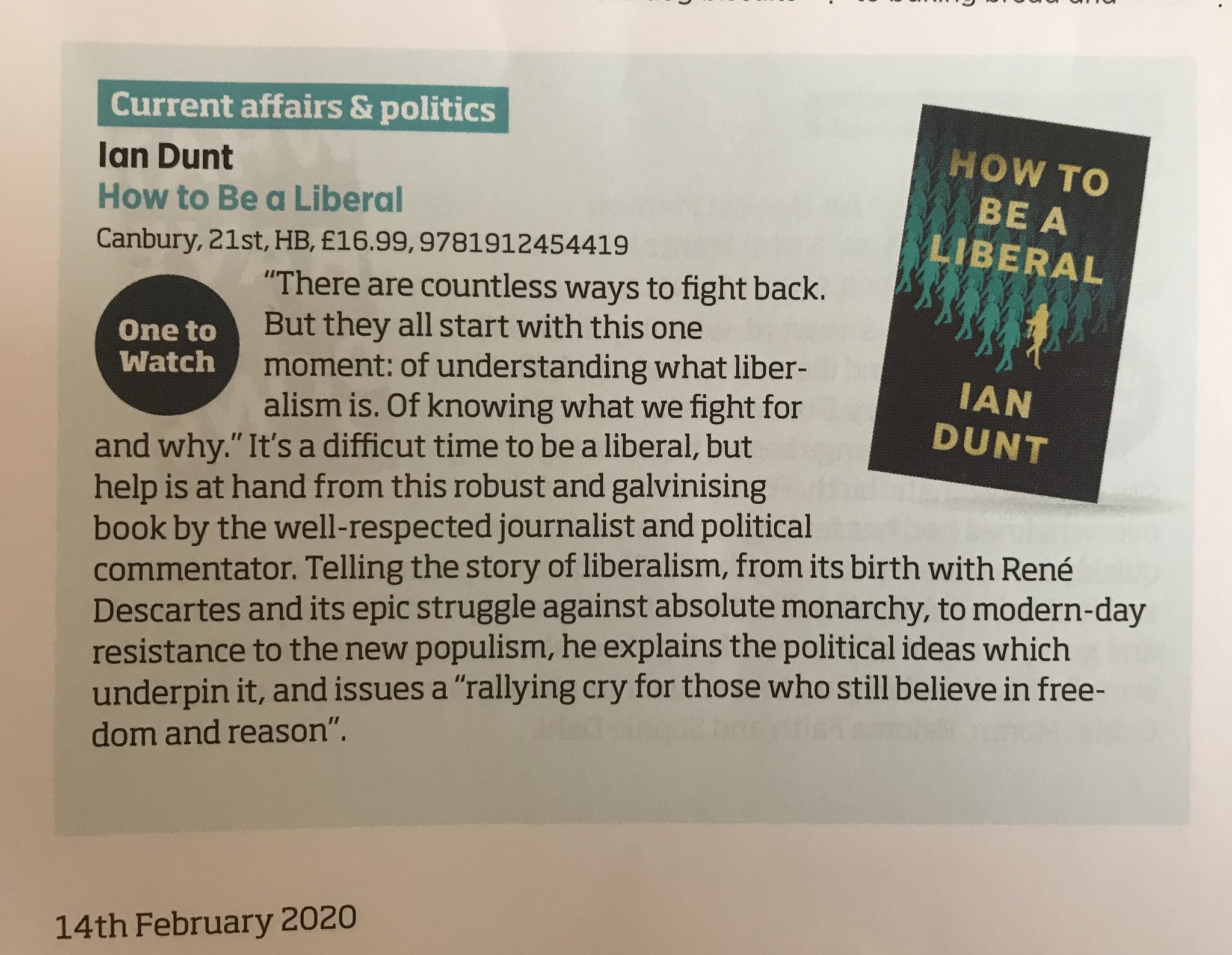 """Ian Dunt on Twitter: """"Mate. How to be a Liberal got a One To Watch section  in the Bookseller magazine.… """""""