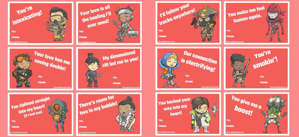 Replying to @noaheisenman: Some @playapex Valentine's Day cards. #ValentinesDay #ApexLegends