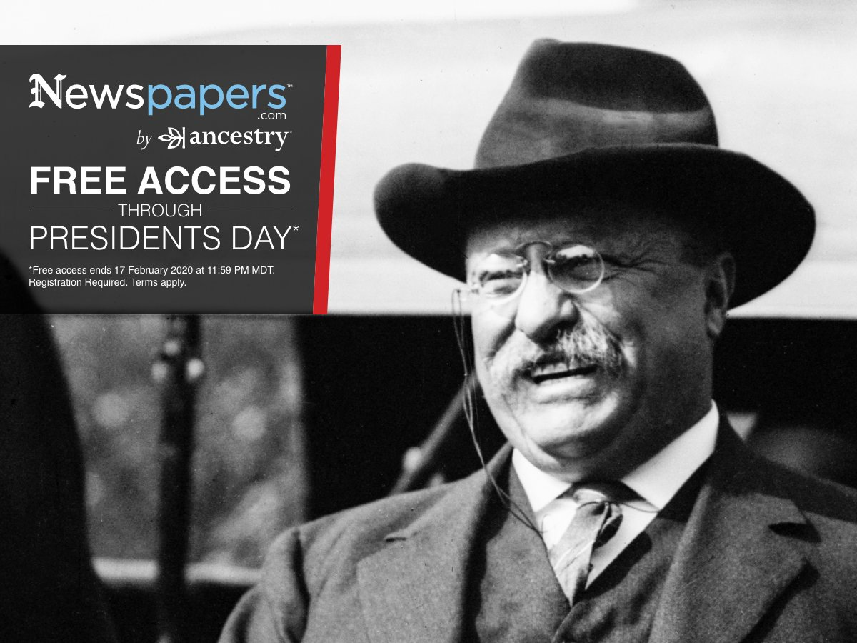 FREE ACCESS now through Presidents Day! Find your connection with the past in the largest online newspaper archive.   Use this link for free access:   (*Free access ends 17 February 2020 at 11:59 PM MT.)