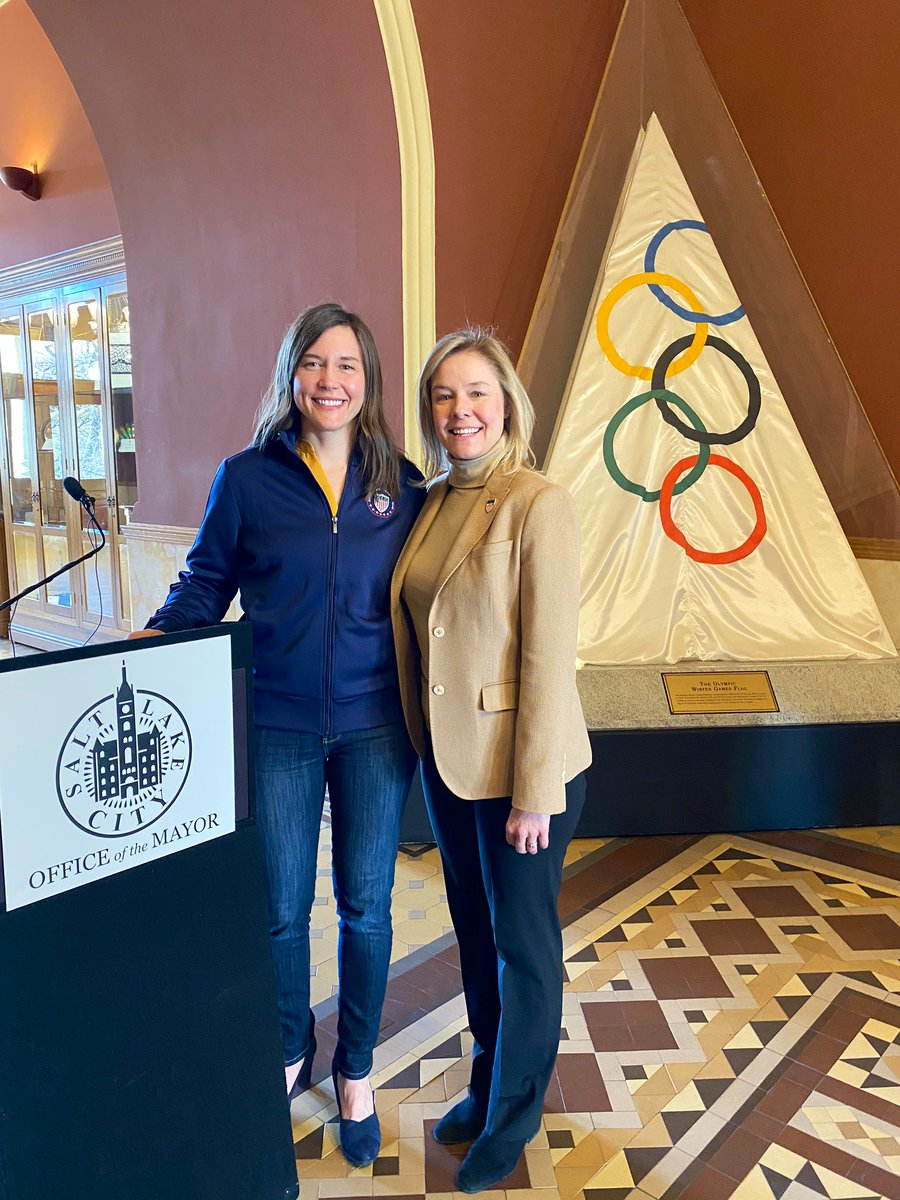 The Olympic spirit is alive in Salt Lake City. We are a community that loves the culture of sport. It's in our DNA. Excited to host @TeamUSA CEO Sarah Hirshland at City Hall today to do the work of exploring which games will be the best fit for #slc #utpol