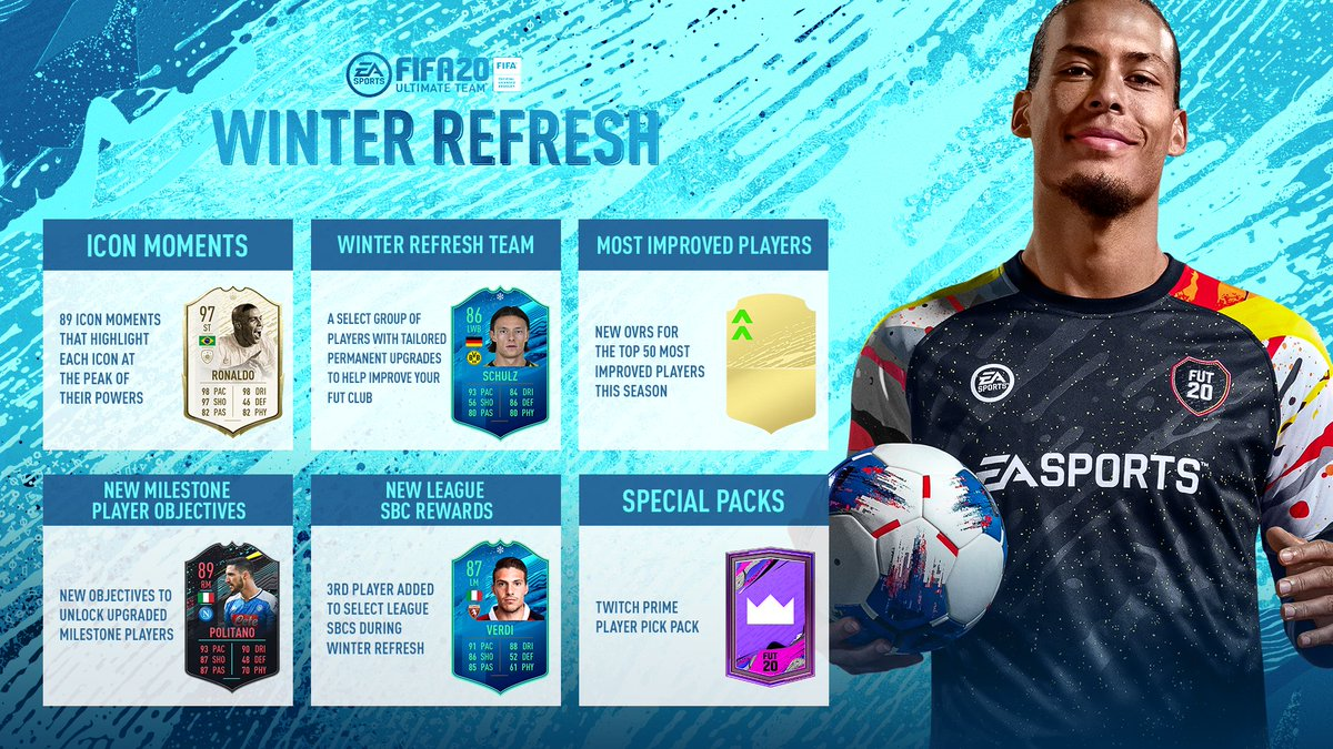ICON Moments ✅ Winter Refresh Team ✅ 50 Base Stats Upgrades ✅ New Milestone Player Objectives ✅ New League SBC Rewards ✅ Special Packs ✅  #WinterRefresh details ➡️ http://x.ea.com/62547 #FUT20