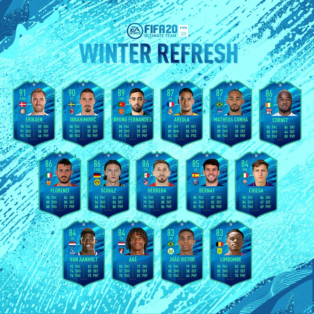 Fill a position gap, help team building, add depth and increase the options of your squad with the #WinterRefresh Team 🙌   Available in packs now | #FUT20