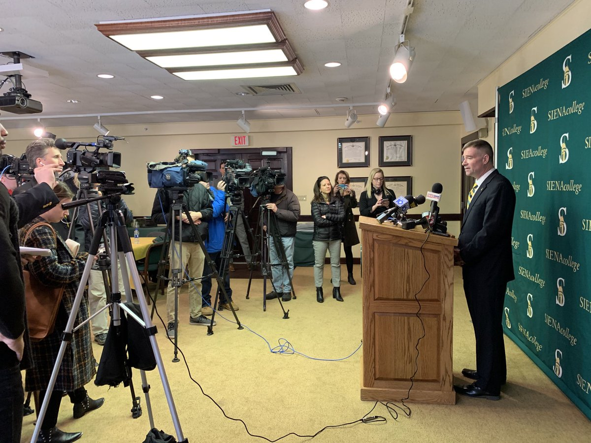 Dr. Chris Gibson '86, 12th President of Siena College addresses members of the media.