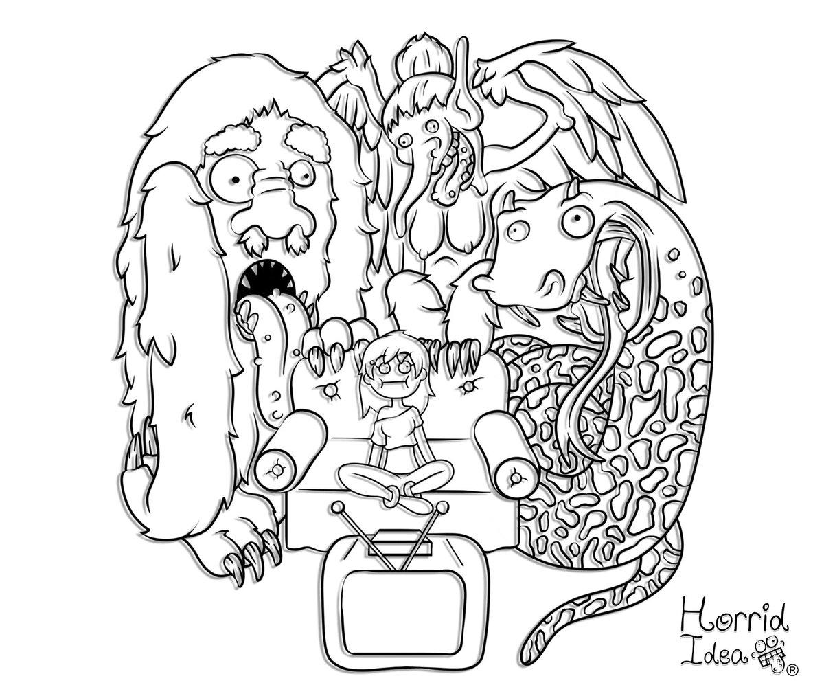 Eh....hola...que pex? #horrididea #monsters #monster #horror #horrorpicture #scary #bigfoot #basilisk #terror #illustration #ilustracion #watchingtv #horrormovie #giant #witch #helpme #drawing #ilovehorrorpic.twitter.com/33KaptR5fM