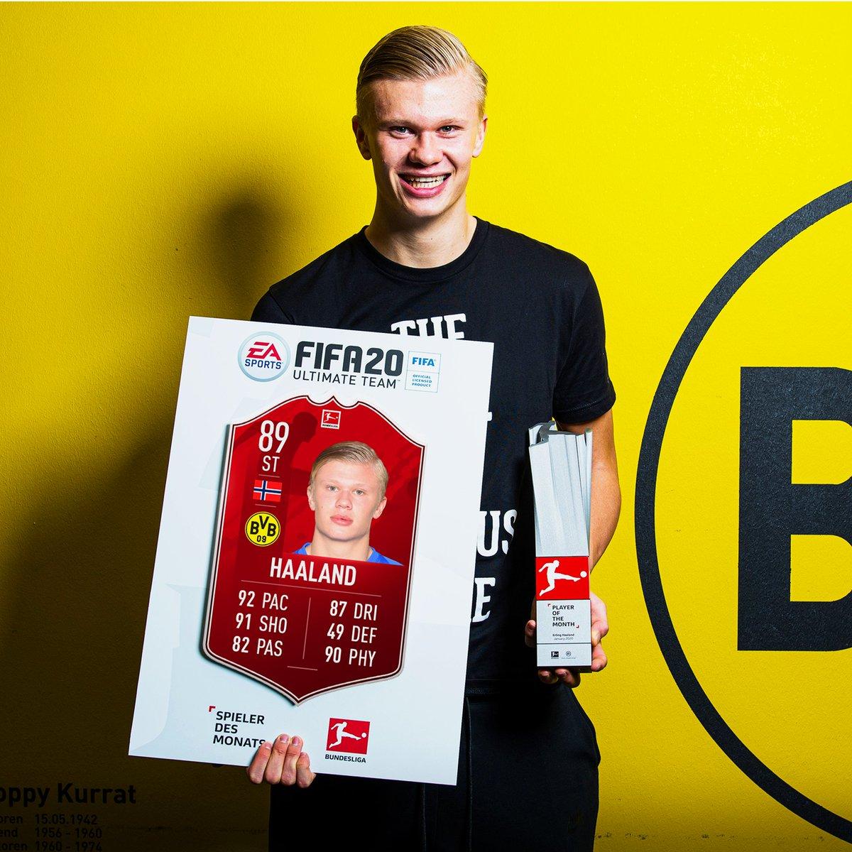 5⃣9⃣ minutes of play were enough for @ErlingHaaland  to snag the January #BundesligaPOTM😎   Now available via SBC   @Bundesliga_EN | #FUT20 | @BlackYellow