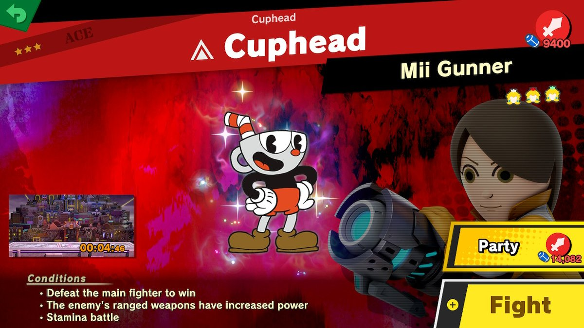 "Here's a real high-class bout!! The Cuphead Spirit event ""Ready? Wallop!"" is officially underway in #SmashBrosUltimate. For the next five days, test your mettle in custom brawls to earn spirits representing iconic Cuphead characters.   Which themed battle is your favorite? https://t.co/luKj7ReSRg"