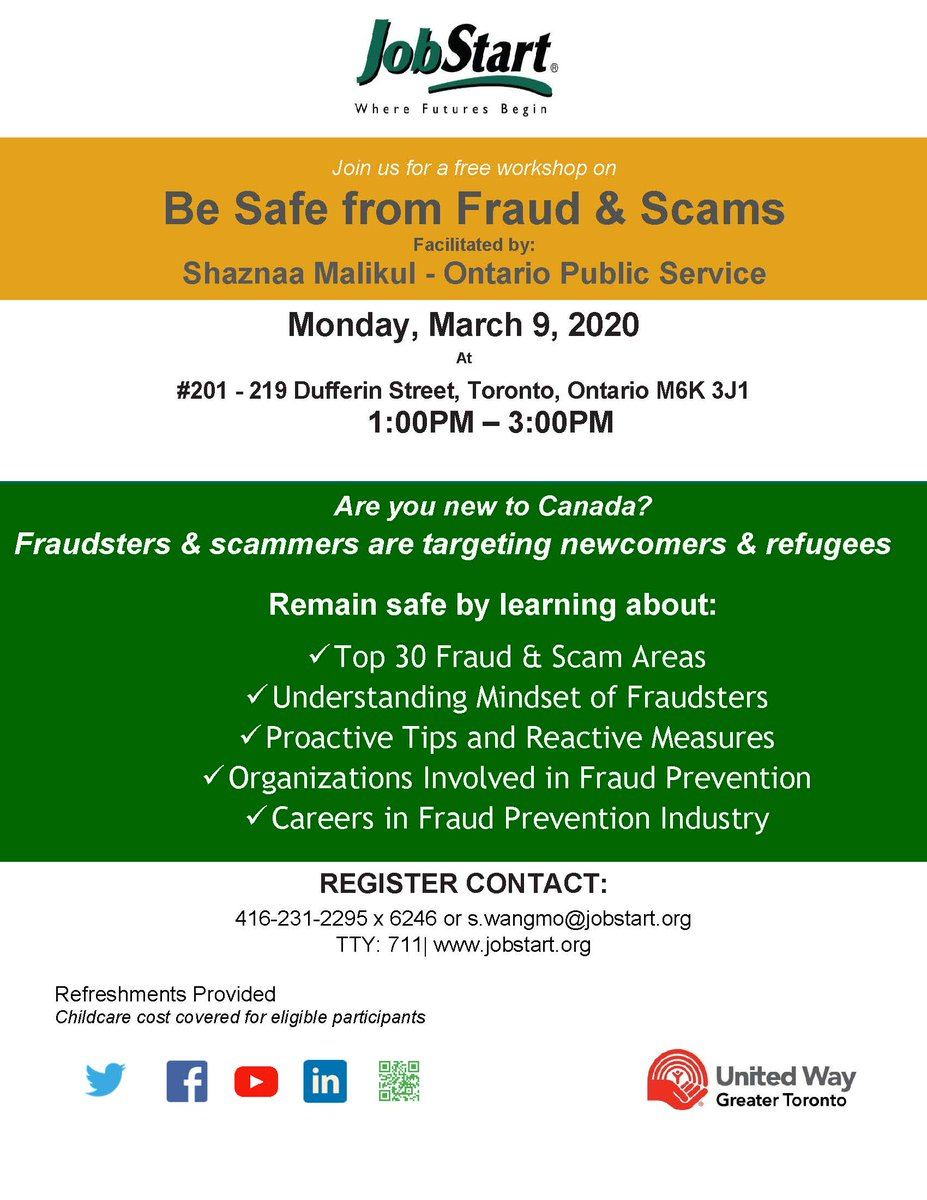 """Learn how to protect yourself from fraud by attending our free workshop - """"Be Safe from Fraud and Scams"""" on March 9th 2020 from 1 to 3 pm at # 201 – 219 Dufferin Street - See Flyer for detailspic.twitter.com/Tw8rmEr872"""