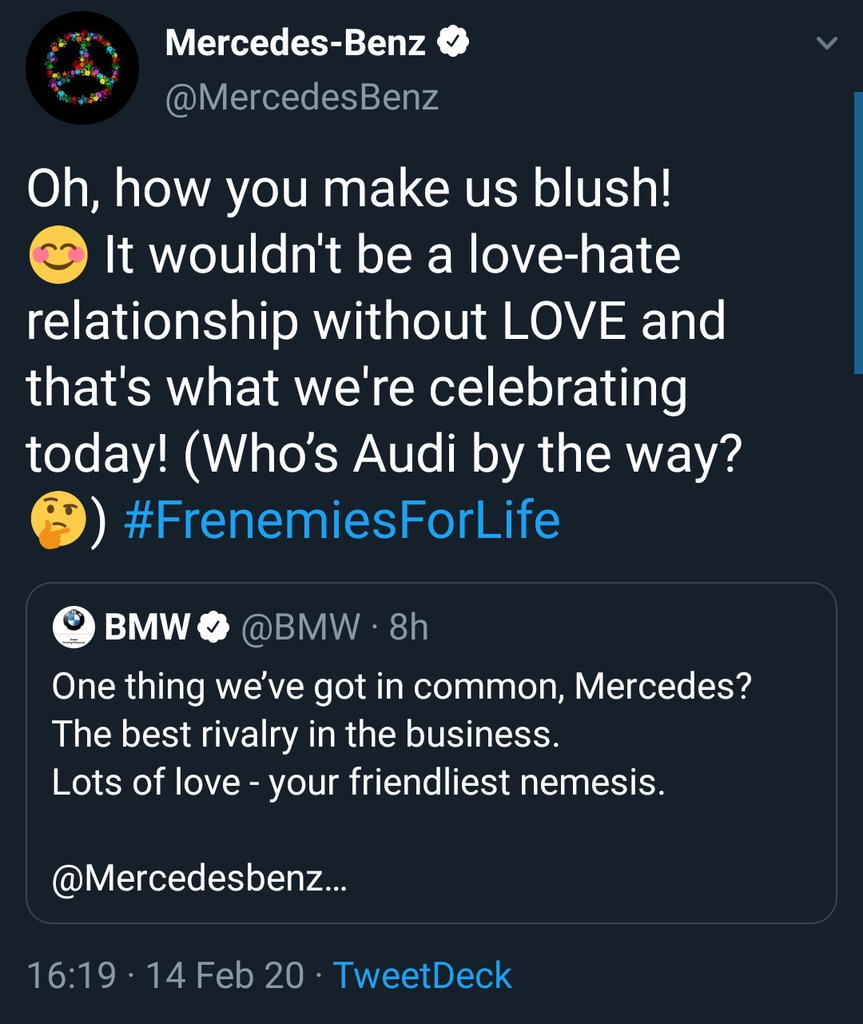 In case you missed the #FrenemiesForLife banter between @MercedesBenz, @BMW and @Audi ...  Can't you just love how they are? #ValentinesDay  #TheBestOrNothing #TheUltimateDrivingMachine #VorsprungDurchTechnik